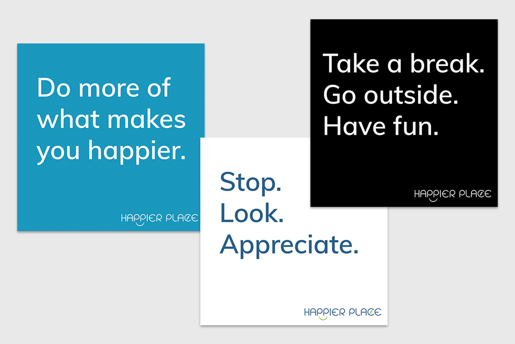 Get-Happier stickers quote - Happier Place