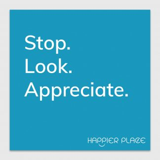 Gratitude Moment Sticker text on blue: Stop. Look. Appreciate. - Happier Place - H001-STC-ST-BUL