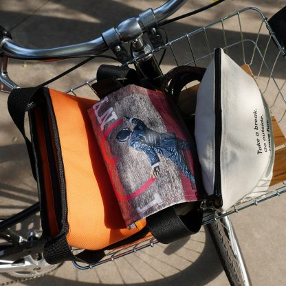 Always-Ready Bag in bike basket - Happier Place
