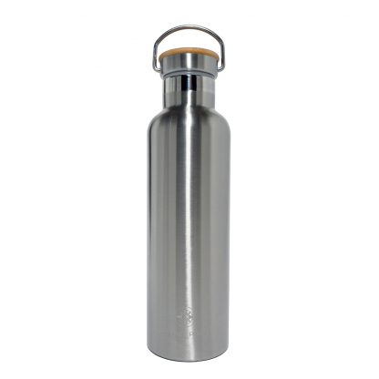 Happier Place double wall insulated stainless steel bottle with bamboo cap