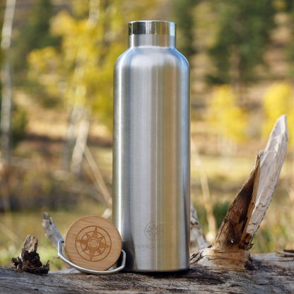 Happier Place double wall insulated stainless steel bottle with bamboo top where it belongs: out in nature - H005-BOT