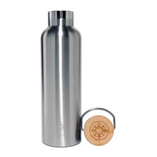 Happier Place double wall insulated stainless steel bottle with bamboo lid