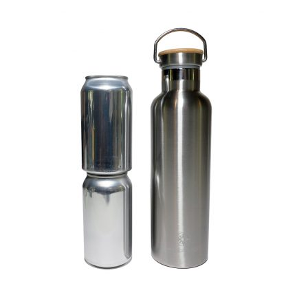 750 ml Happier Place double wall insulated stainless steel bottle size comparison - fits 2 beer or soda cans