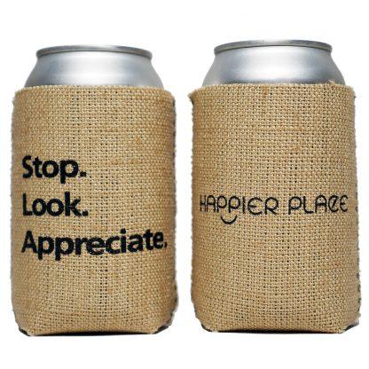Gratitude Moment Burlap Can Cooler - Happier Place