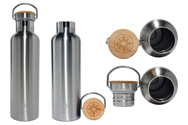 Happier Stainless Steel Bottle With Bamboo Top - Happier Place