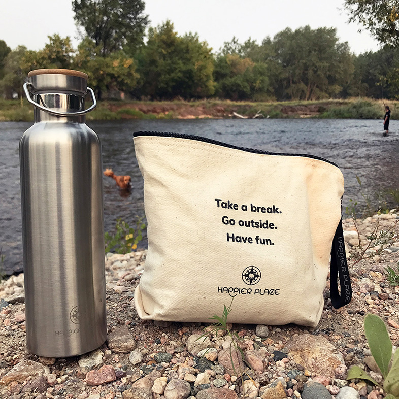 Happier Stainless Steel Bottle and Always-Ready Bag at the Poudre River - Happier Place