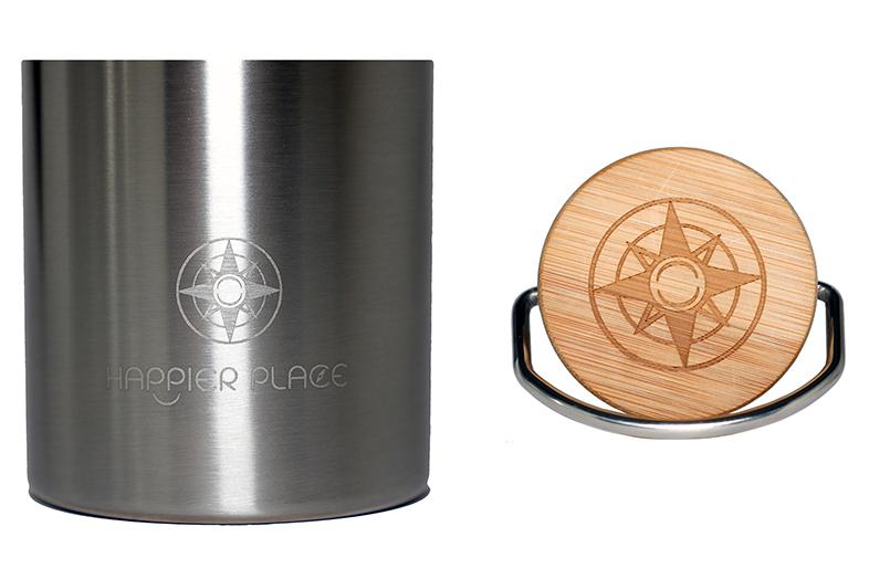 Happier Stainless Steel Bottle - Happier Place Logo