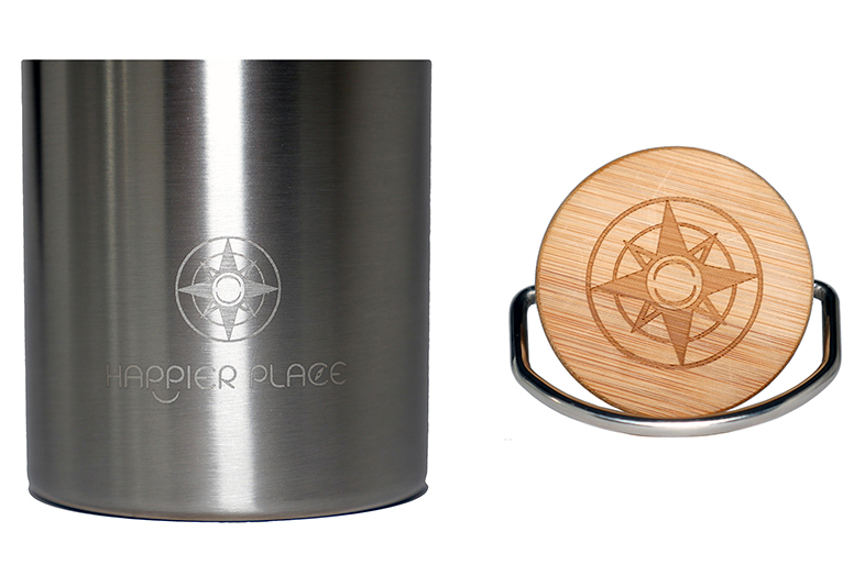 Happier Stainless Steel Bottle - Happier Place Logo