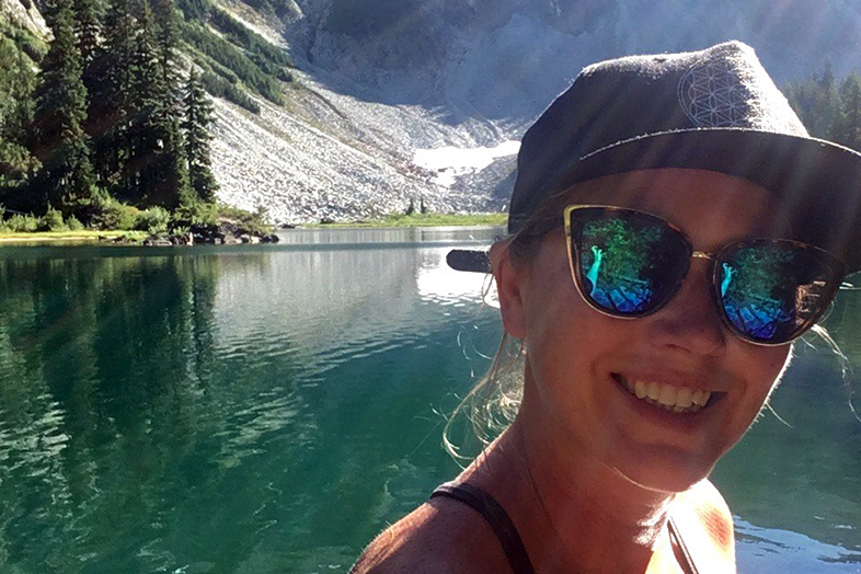 Jess Grotfeldt at Glacier Lake on Mt. Rainier - Happier Place