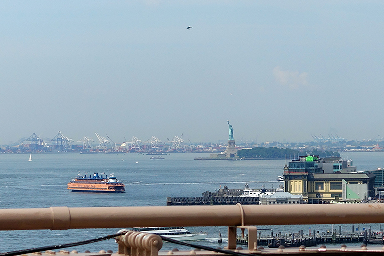 Brooklyn Bridge view Staten Island Ferry
