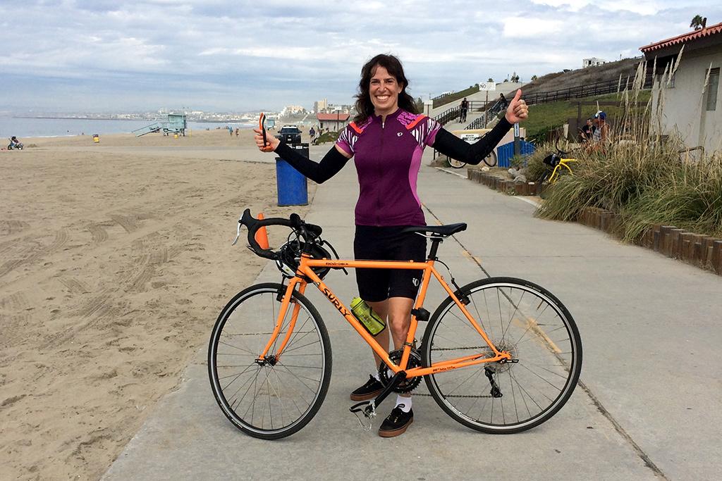 Painter Lisa Goldfarb on the Santa Monica bike path - a Happier Place