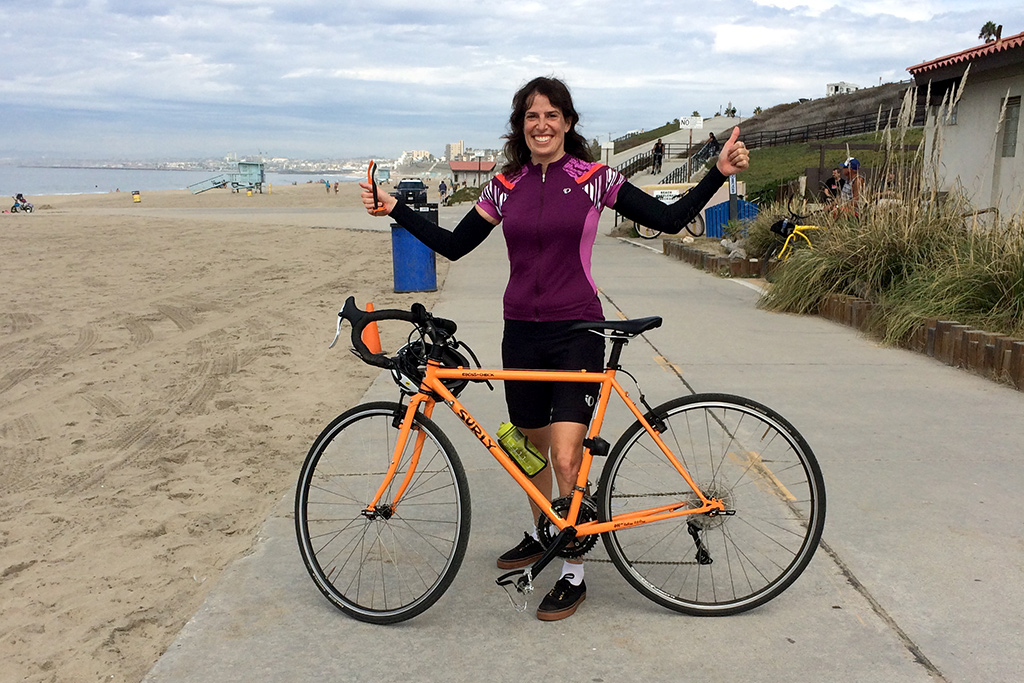 Painter Lisa Goldfarb on the Santa Monica bike path - a Happier Place