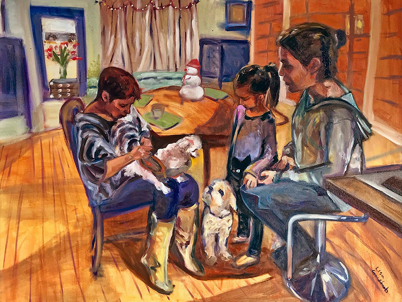 Painting by Lisa Goldfarb of two women, a girl and dogs indoors on New Years Eve 2017.