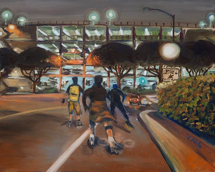 LA Friday Night Skaters - Painting by Lisa Goldfarb - Happier Place