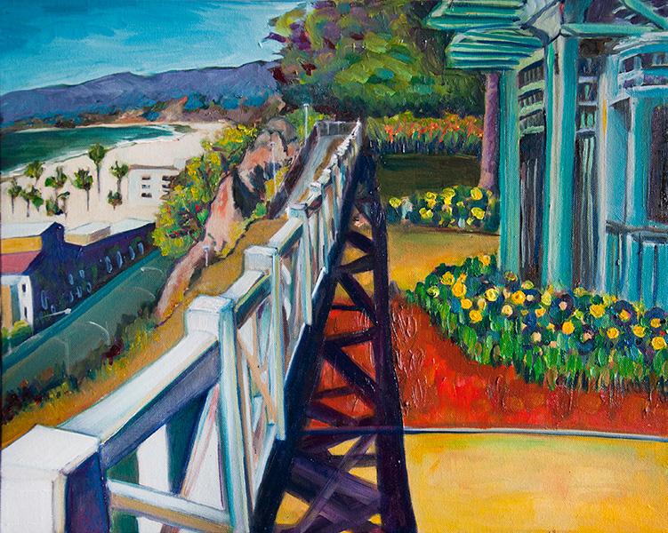 Palisades Park Pergola With Ocean Views - Painting by Lisa Goldfarb.