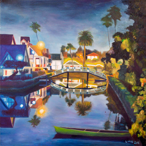 Venice Canal, California, at night - Painting by Lisa Goldfarb - Happier Place