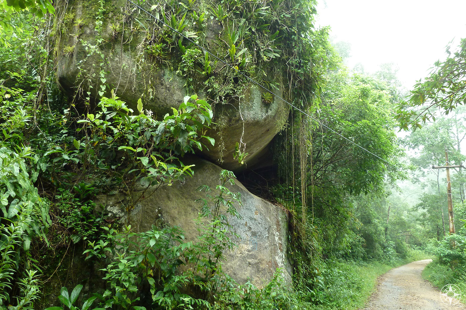 Hiking trail through rainforest mist on one of the main trails from Vila do Abraão. Happier Place