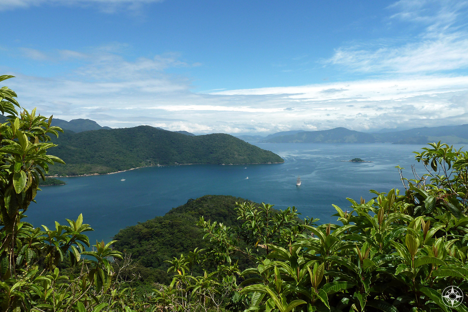 View of Ilha Grande and the Brazilian mainland from a clearing on the trail to Lopes Mendes Beach.