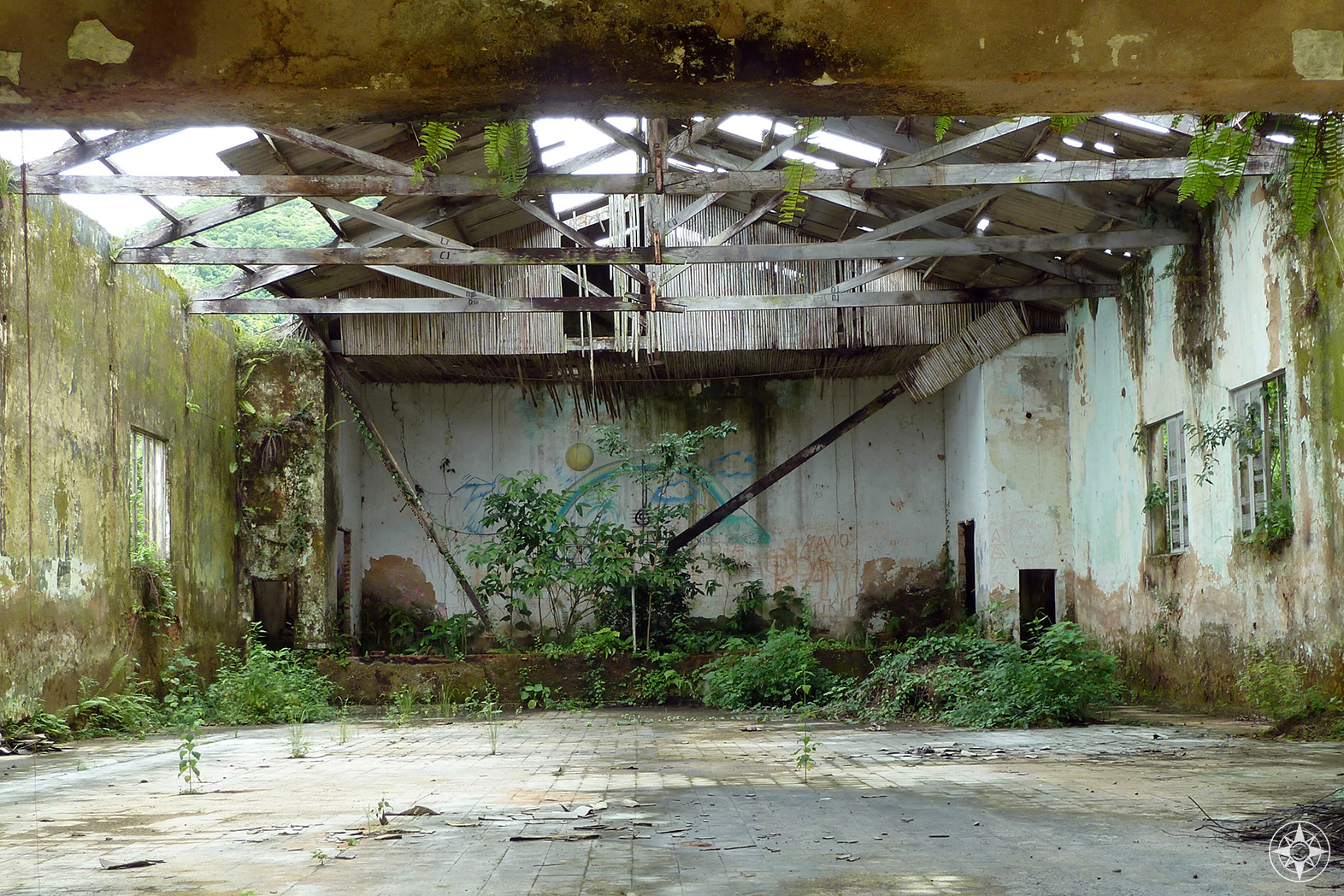 Look inside abandoned building in Dois Rios, Ilha Grande, Brazil.