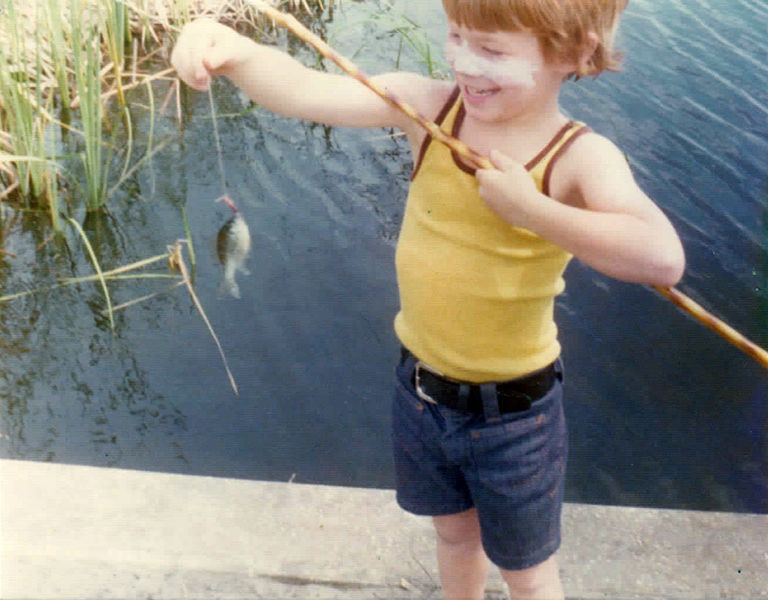 Scott Solary's early days of fishing. We used to call them cane poles; now it's Tenkara.