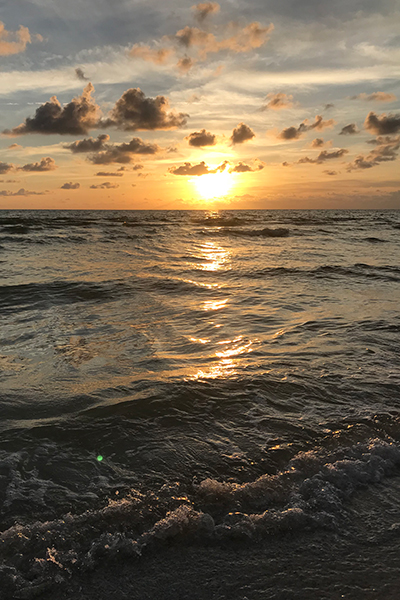 Sunset over the Gulf of Mexico - seen from Clearwater Beach, Florida. Happier Place!