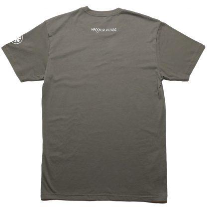 H012-TSH-TK-GY - guys Take A Break T-Shirt - white on warm grey, back: Happier Place