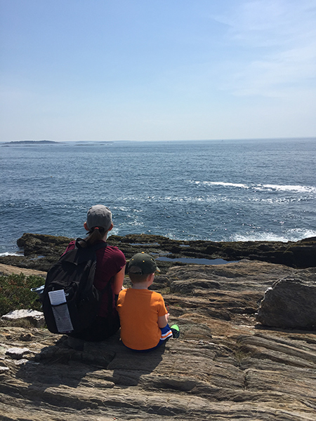 Katherine Guttman and her son at the Giant's Stairs on Bailey Island, Maine.