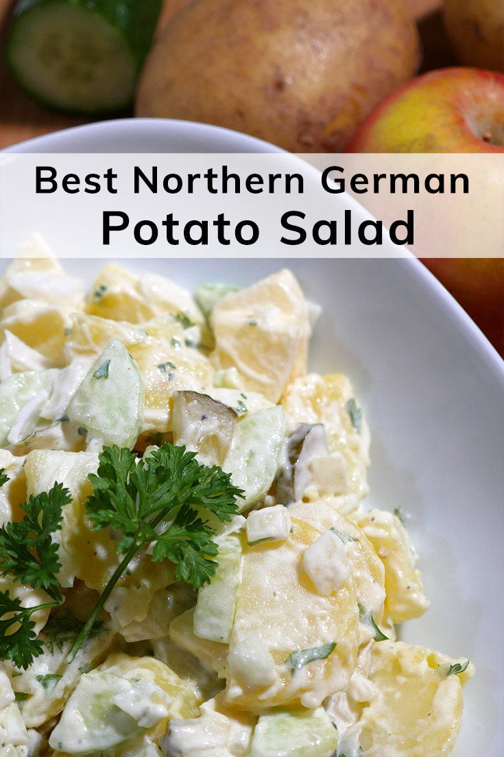Best Northern German Potato Salad recipe with apple and cucumber - #HappierPlace