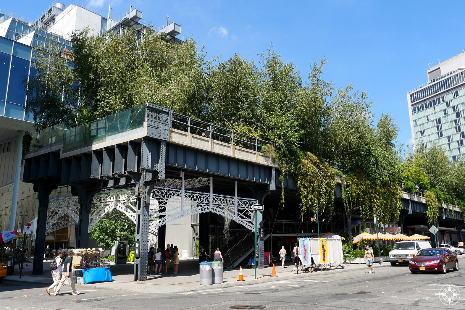 South end and entrance of The High Line at Gansevoort Street in the Meatpacking District.