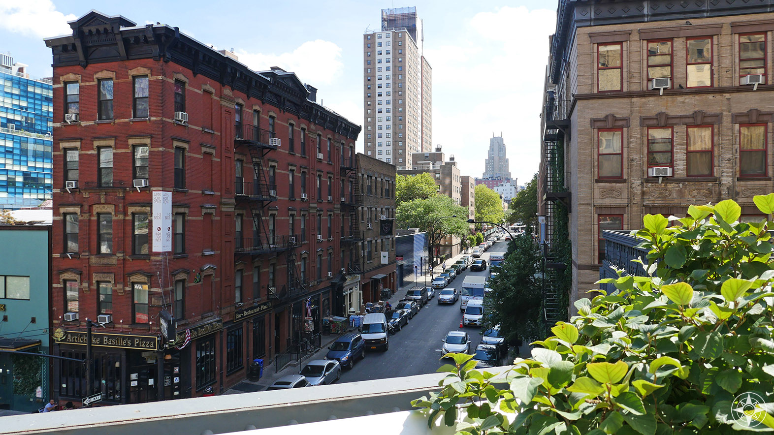 Looking east from the High Line down 17th Street in Chelsea.