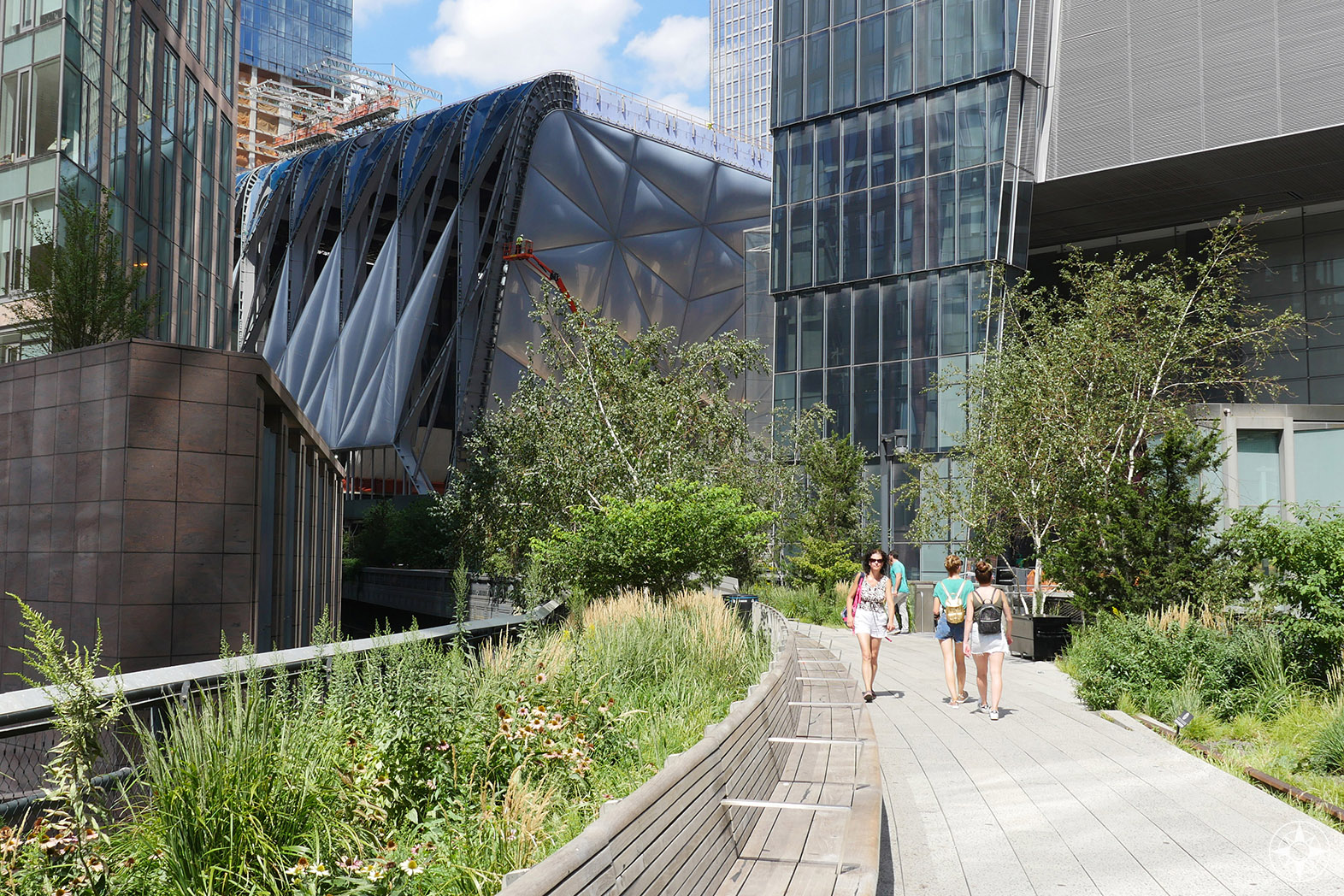 The High Line takes a turn to wind around the new Hudson Yards development and the old rail yard