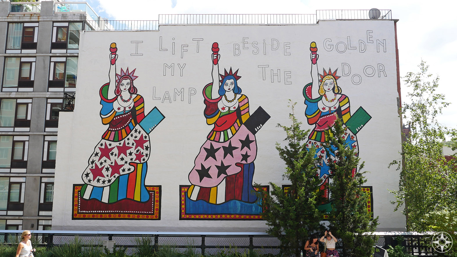 """""""I Lift My Lamp Beside the Golden Door"""" Mural by Berlin-based artist Dorothy Iannone - at 22nd Street."""