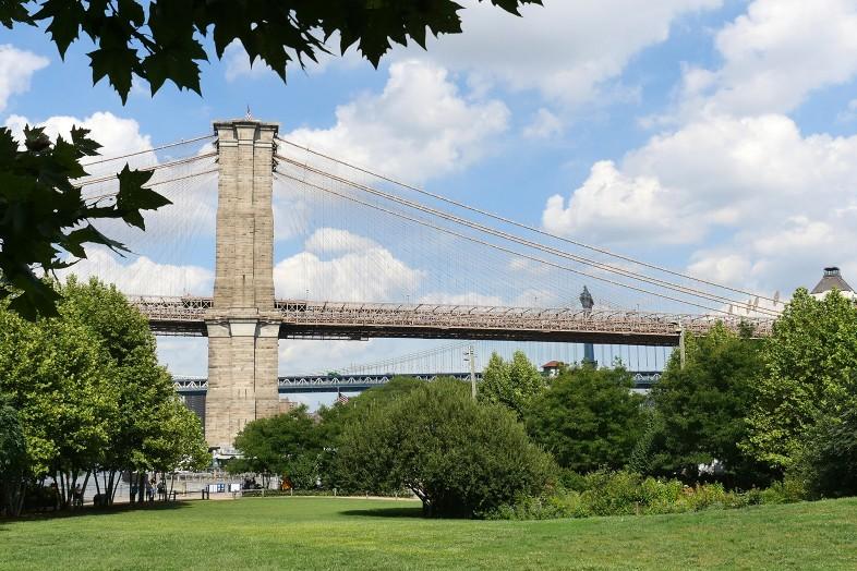 View of the Brooklyn Bridge from Brooklyn Bridge Park Pier 1 - Happier Place