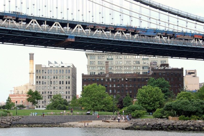 Pebble Beach and Main Street Park and the Manhattan Bridge in DUMBO.