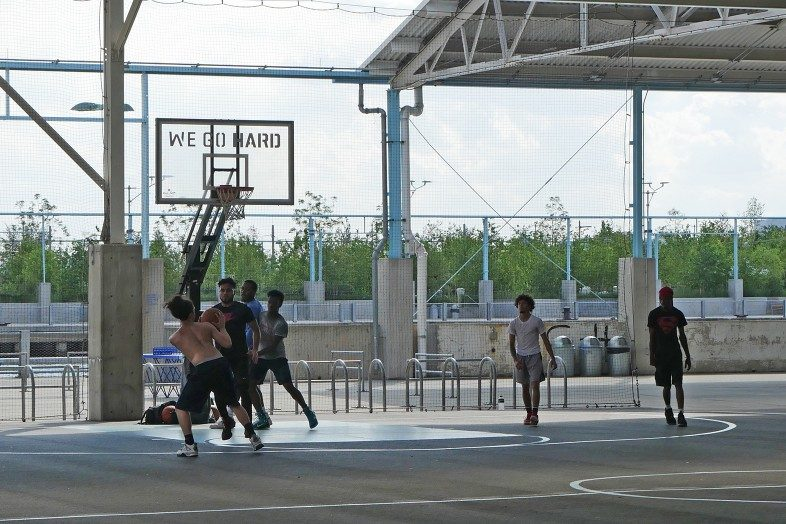 Brooklyn - We Go Hard. Basketball court on Pier 2 in Brooklyn Bridge Park.