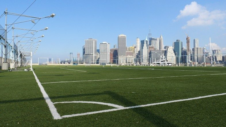 The soccer fields on Pier 5 in Brooklyn Bridge Park.