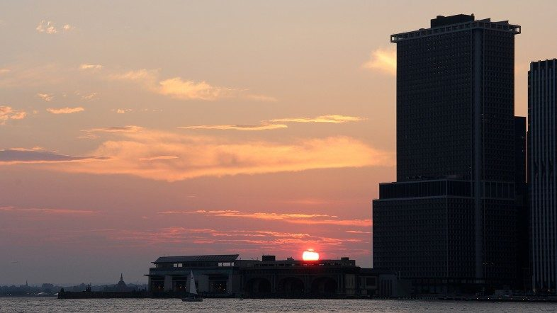 Sunset over Staten Island Ferry Terminal in Lower Manhattan.