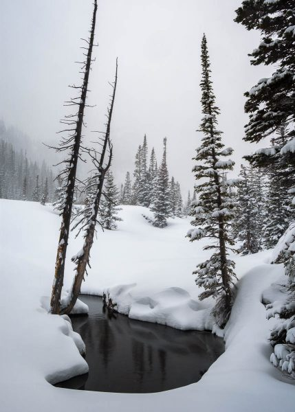 Snow and water in the mountains photographed by Bryan Clark.