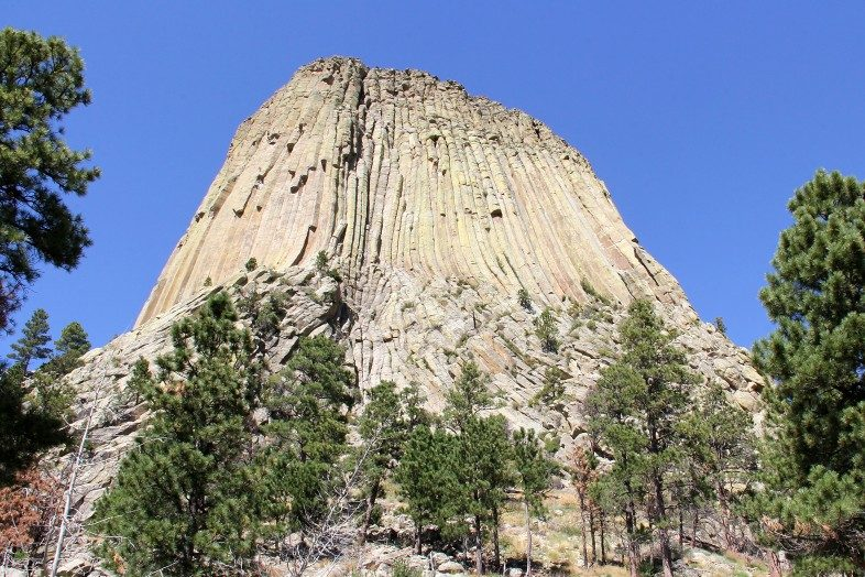 Gazing up at the Devils Tower from the south side.