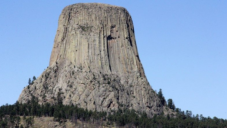 Classic view of unique and solitary Devils Tower in Wyoming.