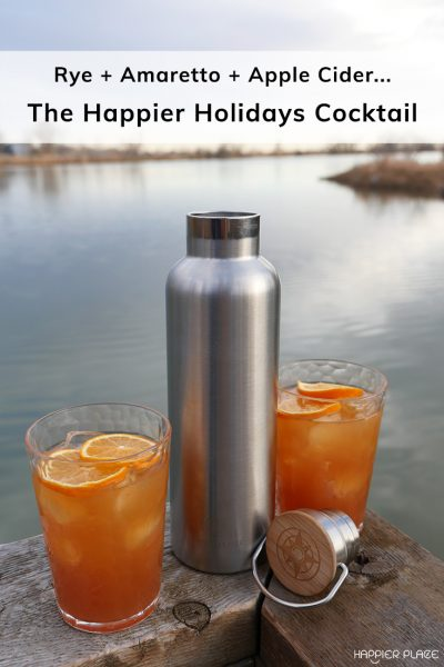 Rye Amaretto Cider Happier Holidays Cocktail at the lake