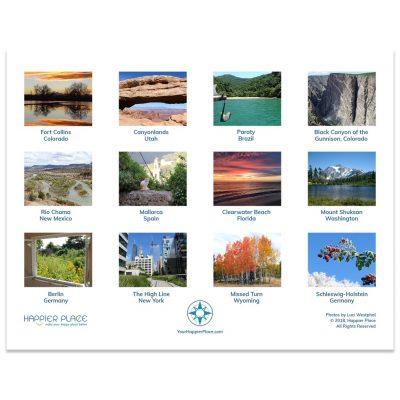 Happier Place 2018 Nature Photography Calendar back.