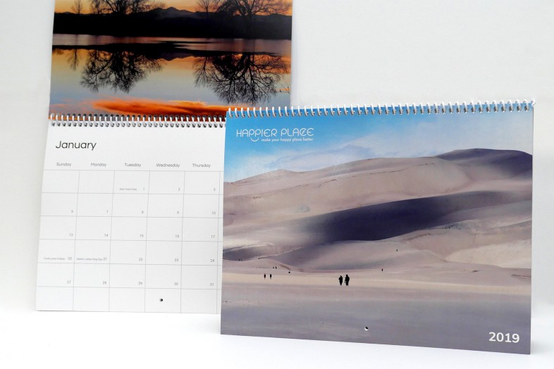 2019 Happier Place Calendar cover and January showing Colorado