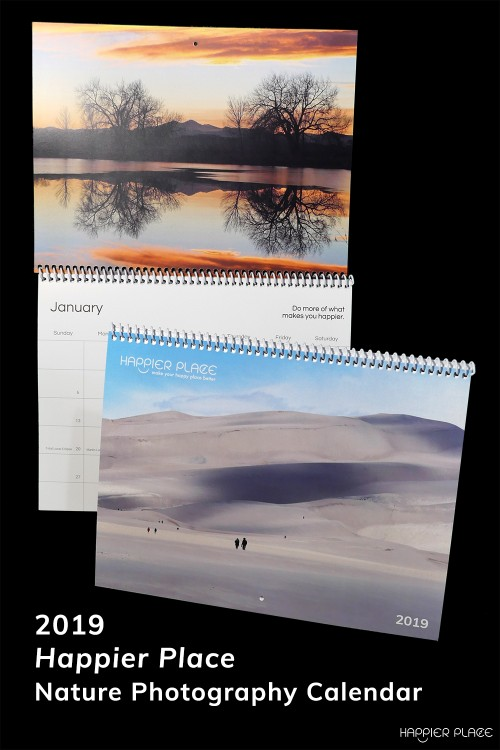 2019 Happier Place Calendar features nature photography from around the world.  #HappierPlace #calendar #naturephotography #giftideas