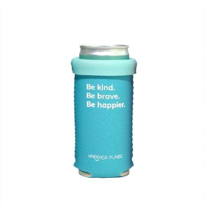 Folded over Be Kind Slim Can Koozie fits 9 oz skinny short cans