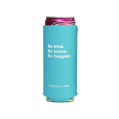 Happier Place Be Kind Slim Can Cooler holding a Henry's Hard Seltzer