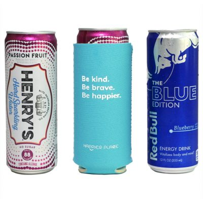 Happier Place Be Kind Slim Can Cooler fits Henry's Hard Sparkling Water and Red Bull Edition and other 12 oz slim cans