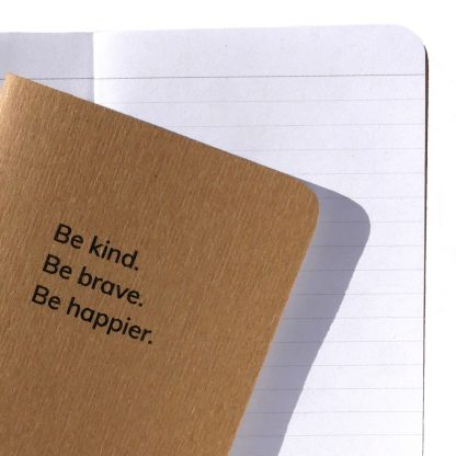 Be kind Be brave notebook with lined pages - Happier Place - H015-NOT-BB-NAT-LI