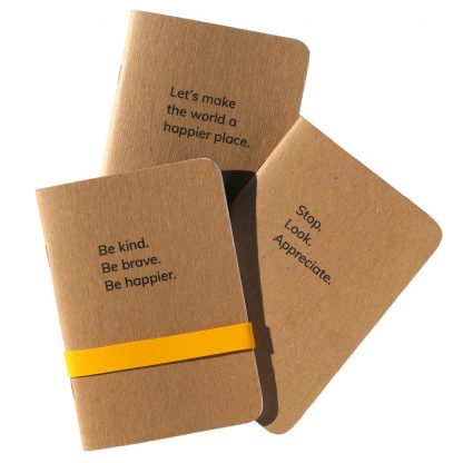Happier Place Notebook Collection: Be Kind + Stop Look + Happier World - H015-NOT-KIT