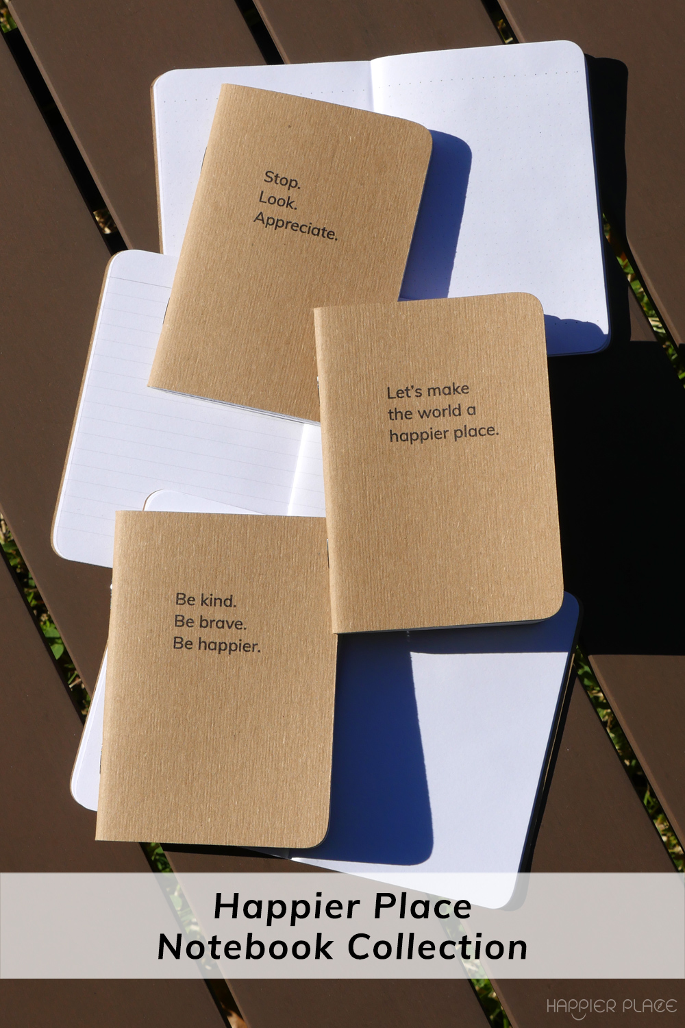 All three Happier Place Pocket Notebooks #HappierPlace #shopsmall #Bcorp #fieldnotes #sketch #giftidea